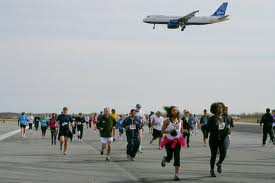 running to catch plane
