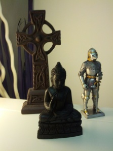 cross buddha and soldier