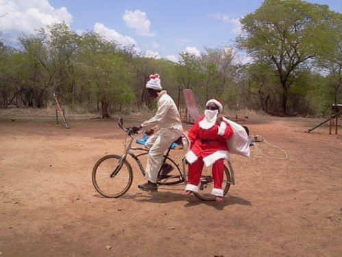 Santa on a bike in Africa