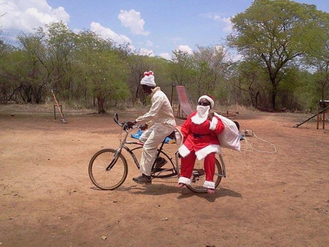 Santa on a bike in Africa