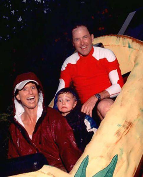 scared boy on slide
